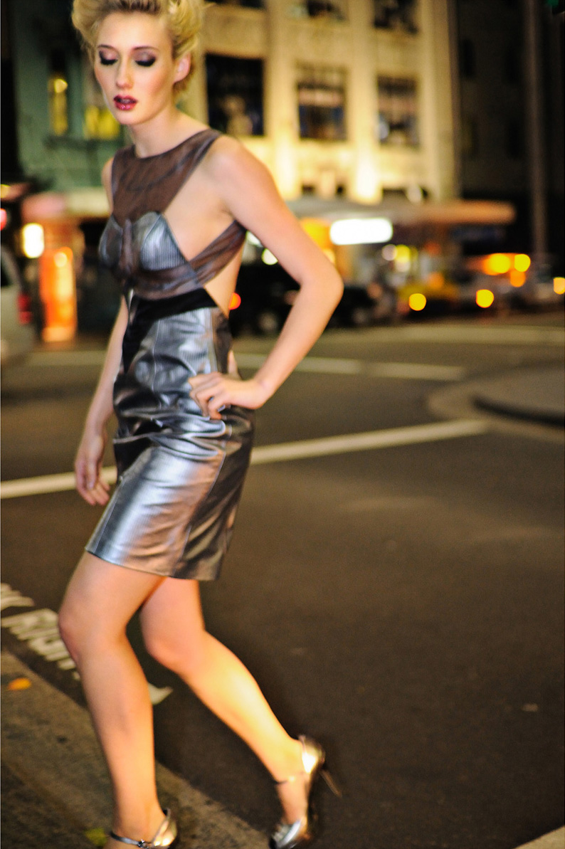Crossing the road in a silver dress, Night Fashion on George St Sydney