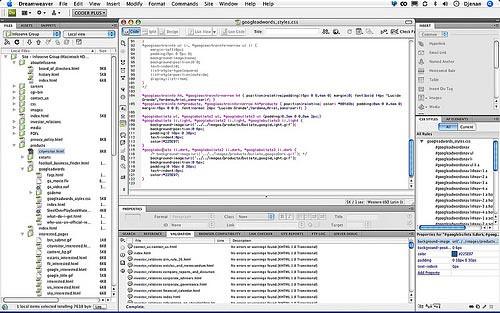 Dreamweaver, programa de edición de sitios web con html e interfaz gráfica.