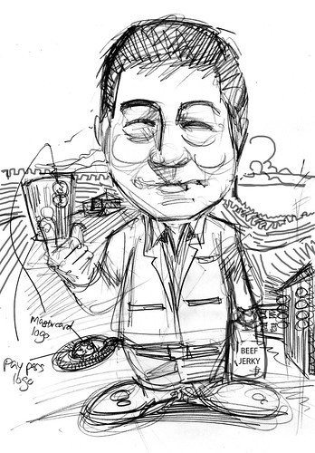 Caricature sketch of Mastercard  Mr Willie Fung (sketch 2)