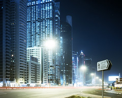 dubai 6 ( Paul Hiller) Tags: road night dubai largeformat sheik zaid fuji64t