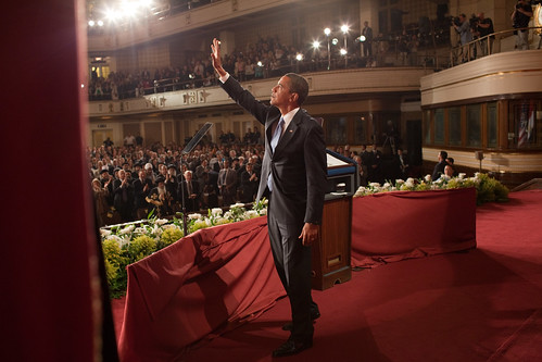 Obama finishes speech in Cairo on 4 June 2009 - Official White House Photo by Pete Souza