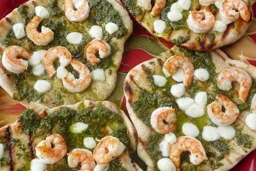 Grilled Shrimp & Pesto Pizza Recipe