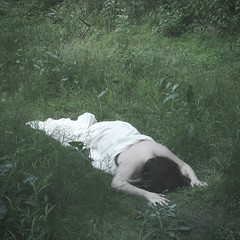22/52: Metamorphosis (Shot.By.Shel Photography) Tags: portrait woman white me girl grass self square weeds woods gimp wrapped ground sp crop blanket sheet conceptual shel laying selfie