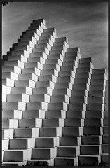 Stairway to Heaven (photo_secessionist) Tags: bw sculpture film stairs analog 35mm washingtondc blackwhite 1940 nationalmall vintagecamera sculpturegarden fed stairwaytoheaven foma ledzepplin selfdeveloped leicacopy fomapan200 uncoated fedf3550mmlens fed1d
