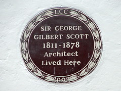 Photo of George Gilbert Scott brown plaque