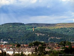 Across The Roof Tops (PMacR) Tags: building monument nature landscape scotland stirling country scottish wallace wallacemonument ochillhills
