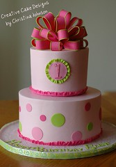1st Birthday Cake (Christina's Dessertery) Tags: birthday pink hot green girl cake first polka dot bow loopy lime buttercream frill christinajohnson creativecakedesigns