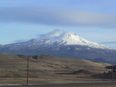 Mount Shasta through the car window