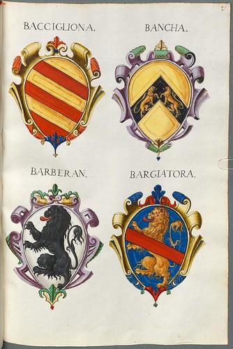 Familienwappen kleinerer Adelshäuser von Vicenza mit Buchstaben a