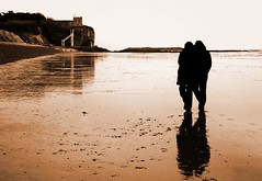Reflection on Love (@Doug88888) Tags: pictures ocean uk winter boy vacation england woman white holiday man black reflection love beach church water girl silhouette sepia digital canon landscape photography photo seaside couple europe image picture gimp images newyear lovers devon buy dslr purchase sidmouth 400d 01feb doug88888