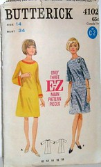 Vintage butterick Pattern 4102 60s Mod A Line Dress with Three Quarter Length or Bell Sleeves Size 14 Bust 34 Waist 26 Hip 36 (Sassy By Design) Tags: she vintage clothing mod 60s flickr pattern sewing womens international cast etsy bellsleeves size14 alinedress threequarterlengthsleeves bust34 sassybydesign waist26 hip36 butterick4102 jewelneckline