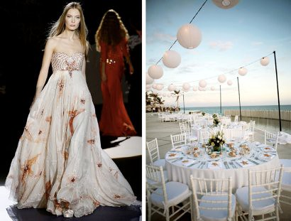 starfish wedding dress and tabletop