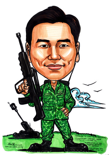 Caricature of Commanding Officer 6AMB