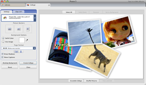 Captura de pantalla de Picasa 3 para Mac creando un collage con cuatro fotos