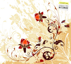 Grunge flower background (theartdream) Tags: summer wallpaper plant abstract flower art texture nature stain floral beautiful silhouette illustration ink design leaf spring artwork paint pattern natural drawing background grunge decoration creative dirty foliage frame blob curl copyspace vector scroll filigree blot flourishes