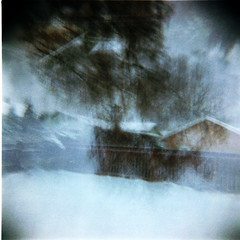 Snow Draft (Dead  Air) Tags: trees houses winter snow blur yard fence portland holga december darkness wind stjohns snowing atmospheric flurry draft exposures snowpocalypse olympiast