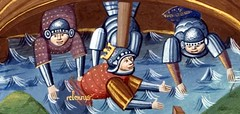 Detail from miniature depicting Seleucus being shipwrecked