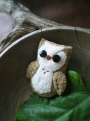 baby barn owl (lilfishstudios) Tags: pin recycled felting handmade brooch craft owl barnowl repurposed lilfishstudios feltedwoolsweater