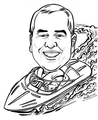 Caricature for Jones Lang Lasalle Mini speedboat