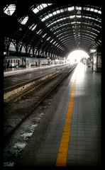 """""""Do not cross the yellow line"""" - Milan Central Station - (29/365) (Miky_P) Tags: bw italy milan station train photoshop italia milano stazione treno yello lightroom htc project365 michelepincanelli"""