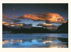 UNESCO Canadian Rockies Postcard (crayolamom) Tags: moon mountain canada night rockies vermilionlake