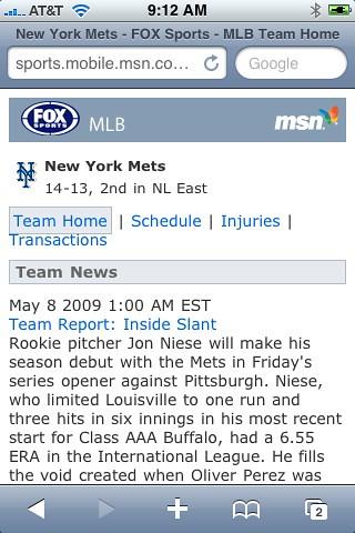 Live Search Mobile Baseball