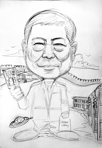 Caricature of Mastercard  Mr Willie Fung pencil sketch
