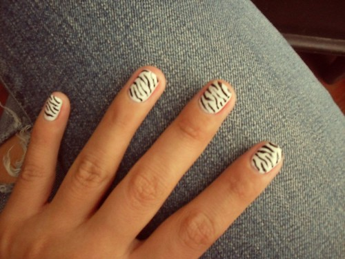 And these are my Zebra nails All I needed was  white & black nail