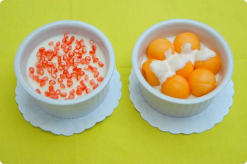 kanten de leite com romã e melão