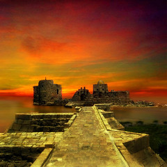 (digitalpsam) Tags: sunset sea lebanon castle art beautiful wonderful intense ancient ruins mediterranean galeria dream saida heavenly crusaders imagery southlebanon sidon seacastle platinumheartaward sammatta