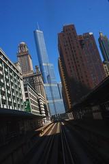 trumping the city (John J Curtis) Tags: railroad chicago train el rails trumptower elevated eltrain railroadtracks chicagobuildings chicagoarchitecture elevatedtracks jewelersbuilding wabashavenue johnjcurtis
