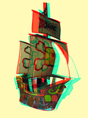 Anaglyph 3D pirate ship (Custom Paper Toys) Tags: blue red paper toy 3d ship anaglyph pirate papertoy