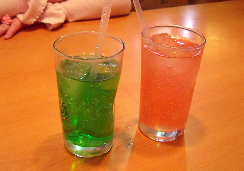 Denny's melon soda and pink lemonade