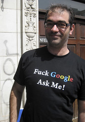 oracle (Nad) Tags: man black london me glasses words google fuck tshirt ask nw3