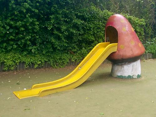 Playground apparatus,Toadstool slide, Lloyd Park E17