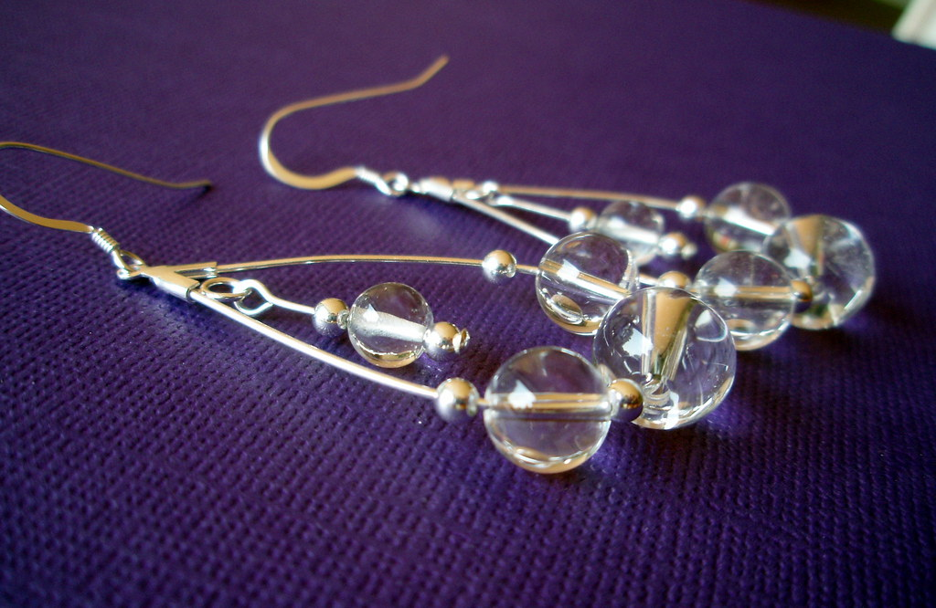 Morning Circles - Crystal Quartz Sterling Silver Earrings
