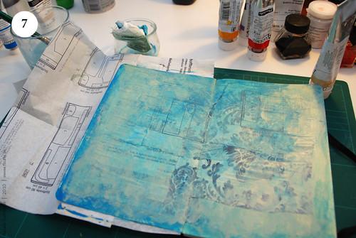 Artbook background with acryl, Step 7