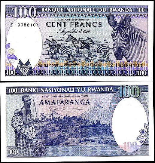 100 Frankov Rwanda 1989, P 19