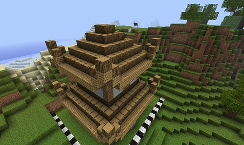 the completed log roof and up turned corders on the upper roof - Minecraft Japanese Pagoda