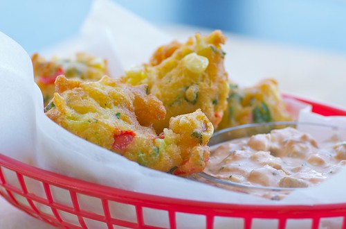 Crispy Corn Fritters with Chipotle Cream Cheese Dipping Sauce