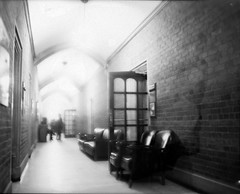 Hall (Js) Tags: light bw 3 toronto graphic chairs kodak scanner hc110 hallway overexposed epson 4x5 hp5 crown pushed ilford largeformat hp5plus harthouse graphex project365 10365 4003200 95min dilutiona graphercrowngraphic