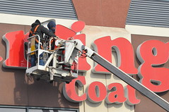Coat Repair Crew (Triborough) Tags: nyc newyorkcity ny newyork sign brooklyn cherrypicker guesswherenyc repair fortgreene atlanticcenter kingscounty burlingtoncoatfactory stujoguessed