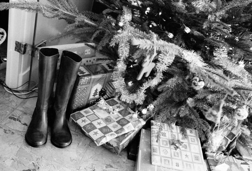 Christmas Tree, Presents, and Boots