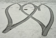 2 hearts in the snow (lovestruck.) Tags: road street snow car hearts geotagged driving tracks reverse turning newbury tyres greatphotographers explored cy2 challe