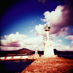 Almost Summer (Fabienne Lin) Tags: blue sea sky 120 film water clouds holga lomo lomography fuji taiwan relaxed kenting rvp fujivelvia 120gcnf holga120gcnf