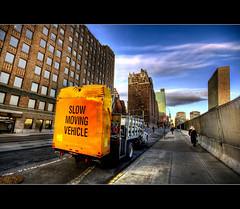 Slow Moving Vehicle (DP Photography) Tags: newyorkcity dumpster urbandecay unitednations hdr urbanlandscape yellowtruck sigma1020mm photomatix tonemapping slowmovingvehicle unheadquarters urbannewyork debashispradhan dpphotography 1stavenuenewyork unitednationalheadquarters dp photography