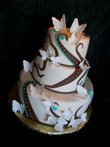 Simple butterfly wedding cakes white blue