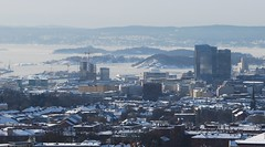 Oslo Skyline in the snow. (Ingenioren) Tags: oslo skyline downtown barcode osloplaza postgirobygget klp sinsenpanorama fjordcity