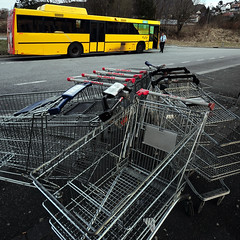 Shopping Cart Mess At The Bus Terminus