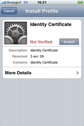 iphone install profile window
